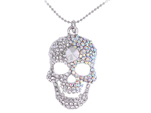 Alilang Silvery Tone Iridescent Crystal Rhinestone Halloween Skeleton Skull Head Pendant Necklace