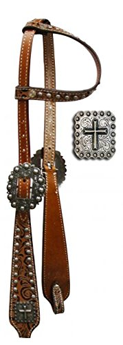 (One Ear Headstall with Brown Filigree Print and Cross Conchos)