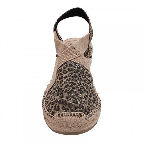 Toni Pons Leopard Print Espadrille Wedge Sandal Beige Muilt