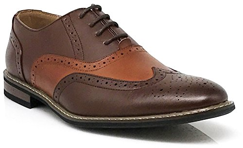 (Wood8 Men's Spectator Two Tone Wingtips Oxfords Perforated Lace Up Dress Shoes (9) Brown Tan)