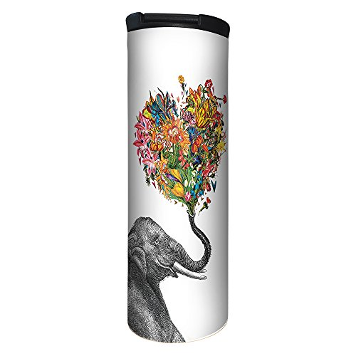 Tree-Free Greetings Love Elephant Flower Vacuum Insulated Travel Coffee Tumbler, 17 Ounce Stainless Steel Mug, Cute Gift for Coffee Lovers (BT21864) (Tea Mug Elephant)