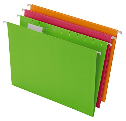 Pendaflex Glow Hanging File Folders, Letter Size, Assorted, Case Pack of 12 (81670) ()