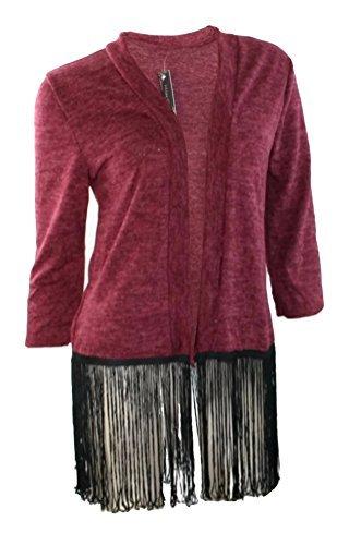 #984 Damen Designer Cardigan Strickjacke Fransen Schwarz Grau Rot Beige Onesize 36-40