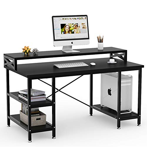 Tribesigns Computer Desk with Storage Shelves, 55 inch Large Modern Office Desk Computer Table Studying Writing Desk Workstation with Hutch for Home Office (Black)