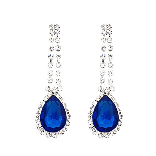Water Drop Dangle Earrings 2mm Rhinestones Earrings Dangling (Blue) ()