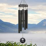 "AUCHEN Wind Chimes Outdoor Deep Tone, Memorial Wind Chimes Personalized with 5 Metal Tubes Amazing Grace Sound, Black Sympathy Wind Chimes for Patio Balcony Garden Home Decor, 30"" Medium"