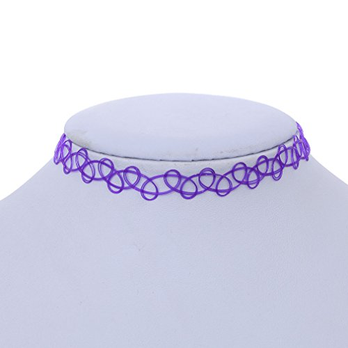 YAZILIND Purple Vintage Stretch Gothic Tattoo Henna Choker Hippy Necklace Elastic 80s 90s - Purple Tattoo