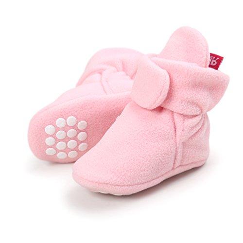 Baby Cozy Fleece Booties, Unisex Baby Girls Boys Cotton Lining and Anti-Slip Soft Sole Winter Socks Infant Girl Booties