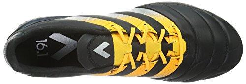 adidas Ace 16.1 Fg/Ag Leather, Botas de Fútbol para Hombre, Negro / Naranja, 45 EU Negro - Schwarz (Core Black/Silver Met./Solar Gold)
