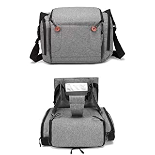 Baby Brielle 2-in-1 Portable Gray Travel Infant and Toddler Diaper Bag with Booster Seat for Dining Table, Planes, Fits Most Standard Size Chairs