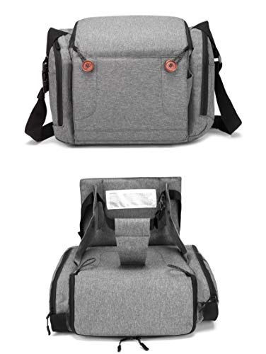 Baby Brielle 2-in-1 Portable Gray Travel Infant and Toddler Diaper Bag with Booster Seat for Dining Table, Planes, Fits Most Standard Size Chairs (Inflated Booster Car Seat)