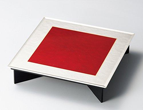 越前塗 越前漆器 足付あぐら膳 レッド銀 サイズ:約30.5×30.5×7.0cm 材質 ABSウレタン塗り 足:木製   B07741GXKC