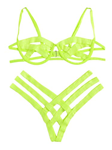 SheIn Women's Sexy Ladder Cut Out Lingerie Set Push Up Two Piece Bra and Panty Large Green