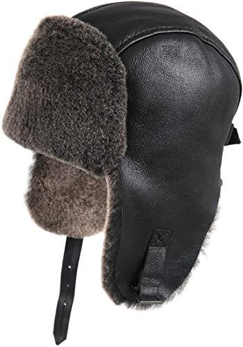 Zavelio Men's Shearling Sheepskin Pilot Hat Small Black