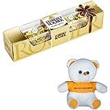 Ferrero Rocher - Valentine's Day Combo - Gift Box, 4 Pieces With Valentine Special Teddy Bear Valentine Hamper 4