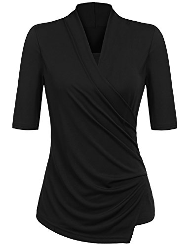 Yhlovg Women V Neck Sexy Crisscross Surplice Wrap Half Sleeve Blouse Top - Half Wrap