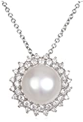 """Rhodium Plate Silver Freshwater Cultured Pearl Pendant with White CZ-18"""""""