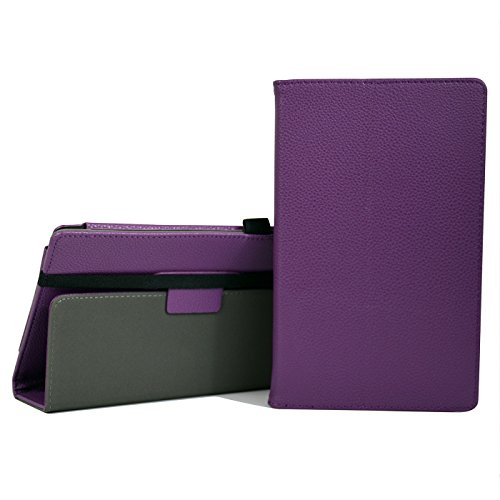 HDE Case for All-New Amazon Fire HD 8 Tablet (7th Generation, 2017 Release) with Included Screen Protector - Leather Folio Protective Cover Stand for Fire HD 8 2017 (Purple)