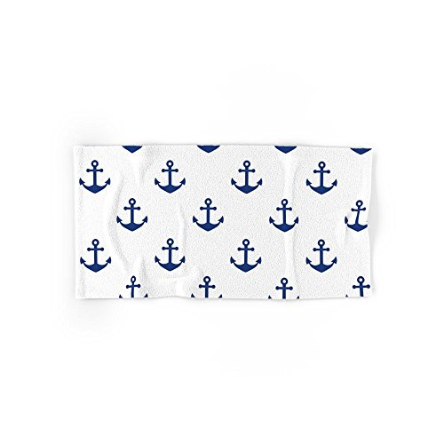 "Society6 Sea Blue Anchor Pattern Hand Towel 30""x15"""