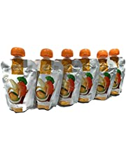 LOVE CHILD Organics Baby Food - 6 Pack of Bananas, Carrots, Mangoes & Coconut with QUINO - 6 + Month (128g/ pkg)