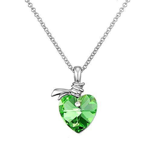 rian Crystal Angel Heart Pendant Necklace Afterglow Jewelry (Light Green Necklace)