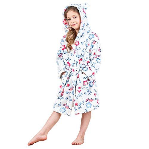 Boys & Girls Bathrobes, Plush Soft Coral Fleece Floral Hooded Sleepwear for Kids Size 8 by Animal Pajamas