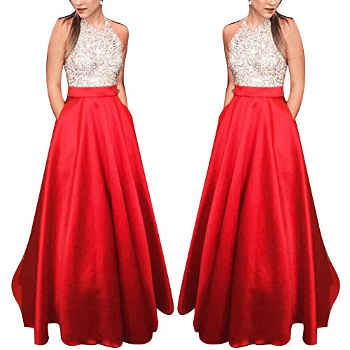 TRENTON Women Dresses Glitter Sequined Sleeveless Slim Fit Sexy Party Gown Evening Maxi Dress Red S
