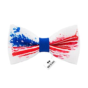 Bow Tie House US flag bow tie 4th of July - pre-tied patriotic+gift box (Medium, Blue)
