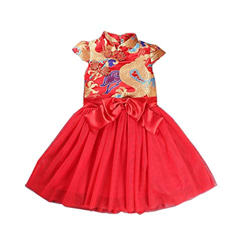 KLFGJ Girls Dresses, Short Sleeve Clothes Tang Suit Cheongsam Embroidered Princess Dress for Kids who 1-6Yrs(Red,2T) -