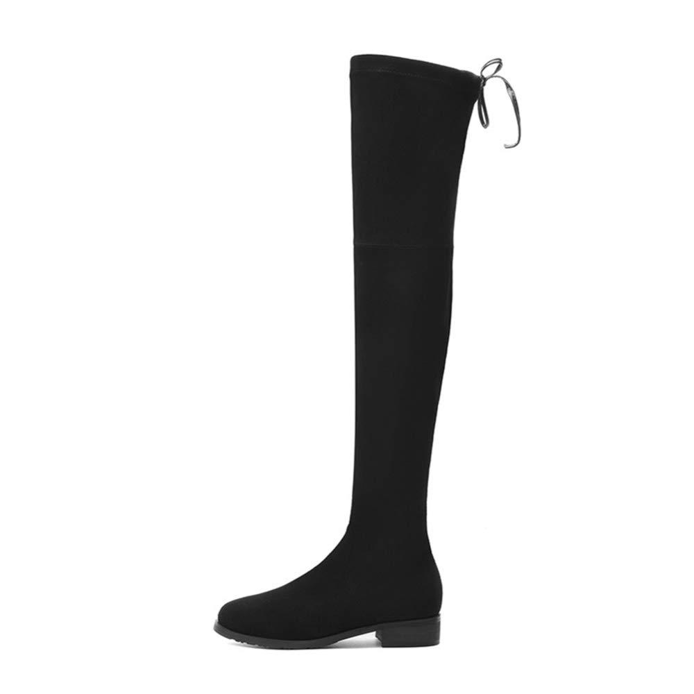Adultsys Damen Stiefel Runde Kopf Dick Über Dem Knie Stretch Stiefel Wasserdichte Plattform Damenschuhe  | Trendy  | Neuartiges Design
