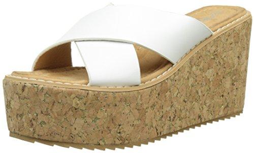 Angkorly - Scarpe da Moda Mules sandali zeppe donna sughero tanga Tacco zeppa piattaforma 9.5 CM - Bianco