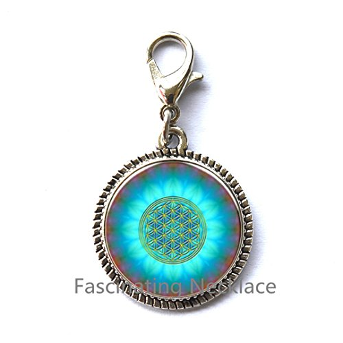 Logo Charming Zipper Pull Chakra Zipper Pull Sacred Geometry Jewelry Art Glass Cabochon Zipper Pull,AQ126 ()