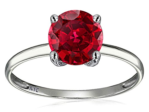 Tommaso Design(tm) 7mm Round Created Ruby Solitaire Engagement Ring in 14 kt White Gold Size 6