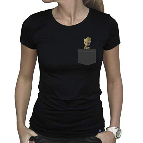 Femme Marvel Groot Black Pocket Abystyle Tshirt ITqCwHH