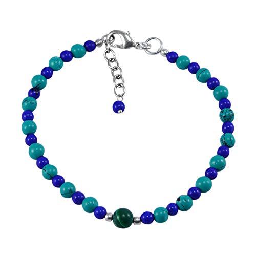 Silvestoo Jaipur Turquoise & Blue Quartz 925 Silver Plated Bracelet PG-131192
