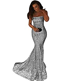 Shiny Strapless Long Mermaid Prom Bridesmaid Dress Sequins Evening Gowns