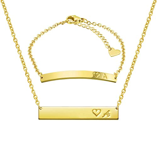 THREE KEYS JEWELRY Initial A Necklace Alphabet Bracelet Suit 316L Stainless Steel Gold Tone Bar Pendant Heart with Chocker Letter Jewelry for Women Men and Girls ST-G-A