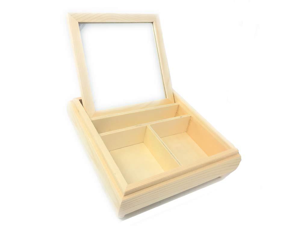 Vetrineinrete/® Scatola portagioie con Specchio a Scomparsa e 3 Scomparti Cofanetto in Legno per Gioielli Personalizzabile con decoupage F40