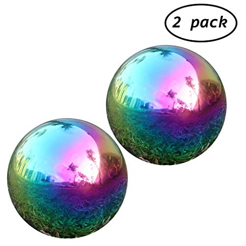 Pack of 2, Rainbow Gazing Globe Ball Stainless Steel Mirror Sphere for Home Garden - 6 Inch (6 Inch)