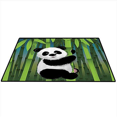 Capel Bamboo (Cartoon Decor Collection Customize Floor mats Curious Baby Panda on Stem of The Bamboo Bear Jungle Nature Wood Design Pattern Indoors Bathroom 4'x5' (W120cmxL150cm) Green Blue Black White)