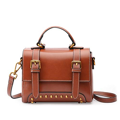 - Pro-BikeUS Genuine Leather Vintage Rivet Bag Women Top Handle Satchel Handbag Tote Shoulder Bag Purse Crossbody Bag (Color : Caramel Color)