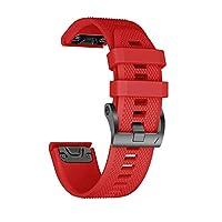ANCOOL Reemplazo de correa de reloj de silicona suave de 26 mm de ancho de banda de ajuste fácil Garmin Fenix de 5 mm para Garmin Fenix 5X /Fenix 3 /Fenix 3 HR - Rojo