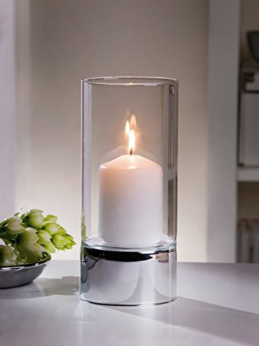 Metal and Glass Hurricane Candle Holder, Silver Spark Product SKU: CL224400