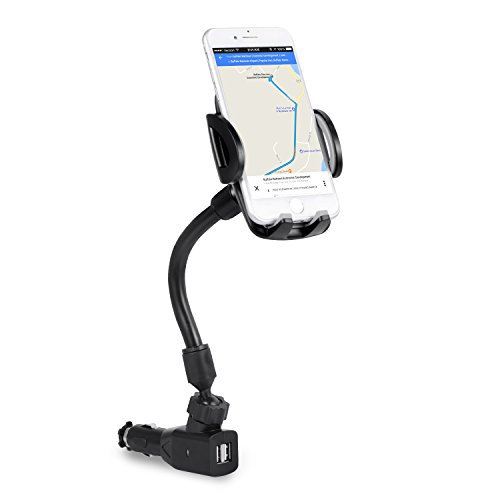 3-In-1 Cigarette Lighter Car Mount, Bestfy Car Mount Charger Phone Holder Cradle with Dual USB 2.1A Charger for iPhone X 8 8 Plus 7 7 Plus Samsung Galaxy Note S7 Edge and More Android Smartphones (Note 3 Cell Phone Holder)