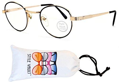 E3048-vp Style Vault Panto Metal Eyeglasses (B2861F Black/Gold-Clear, - 50s Mens Glasses