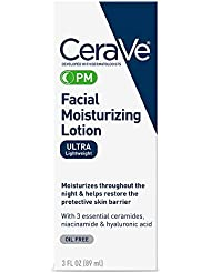 CeraVe PM Facial Moisturizing Lotion | Night Cream with Hyaluronic Acid and Niacinamide | Ultra-Lightweight, Oil-Free Moisturizer for Face | 3 Ounce