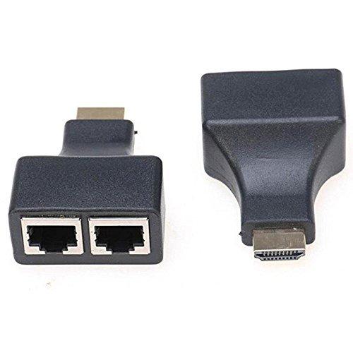 Dvi Socket (Q4Tech HDMI over Ethernet Adapter/Extender. HDMI Male to 2 Dual RJ45 Female Port CAT 5/CAT 6 LAN Ethernet Sockets. Pack of 2.)