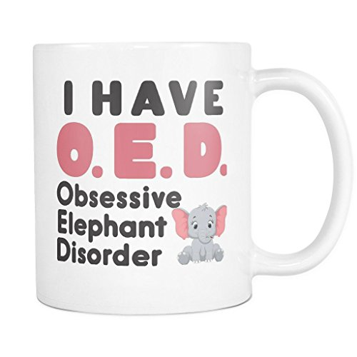 2016 Costume Trends (ArtsyMod OED OBSESSIVE ELEPHANT DISORDER Premium Coffee Mug, PERFECT FUN GIFT for the Elephant Lover! Attractive Durable White Ceramic Mug (11oz., Pink/Black Text))