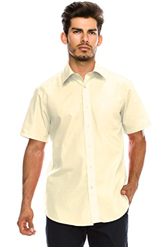 Men's Regular-Fit Solid Color Short Sleeve Dress Shirt, Ivory Shirts - Shirt Ivory Mens
