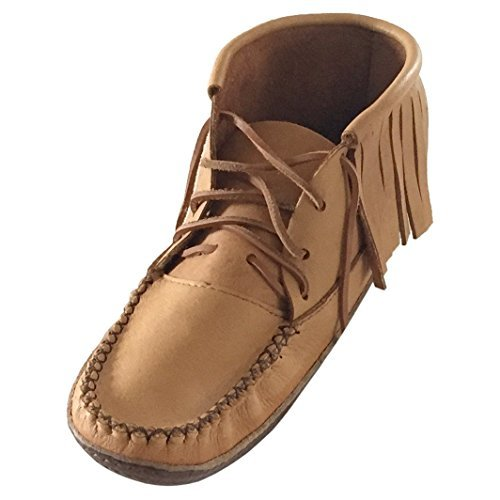 (Bastien Industries Men's Fringe Moose Hide Leather with Heavy Oil Tan Sole Earthing Grounding Moccasin Boots (8))